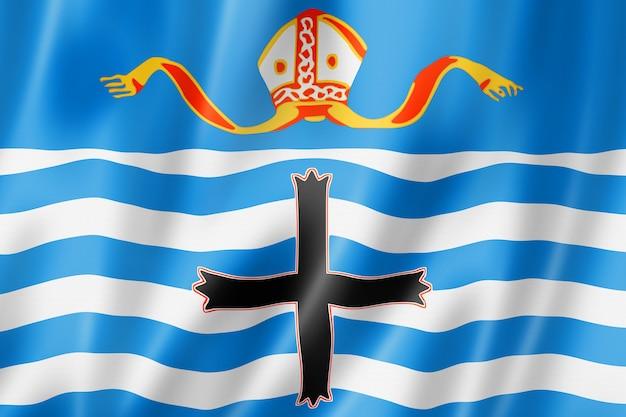Flaga regionu nelson, kolekcja transparentów nowej zelandii. ilustracja 3d