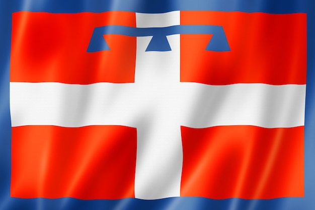 Flaga regionu piemont, macha kolekcja transparent włochy. ilustracja 3d