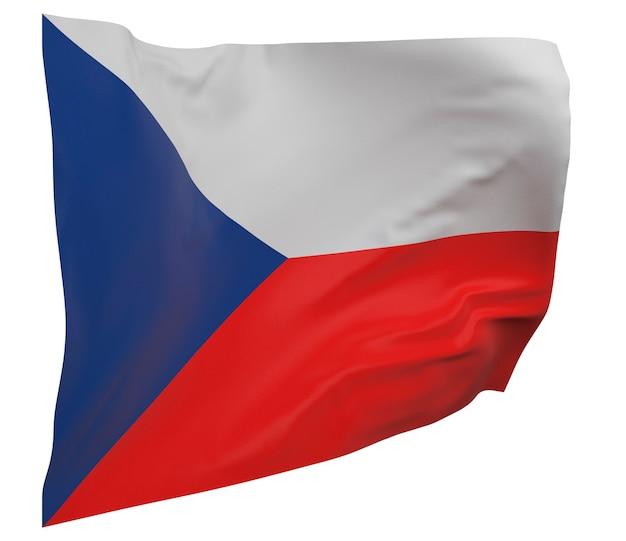 Flaga republiki czeskiej na białym tle. macha sztandarem. flaga narodowa republiki czeskiej