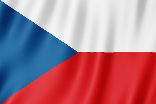 Flaga republiki czeskiej na wietrze.