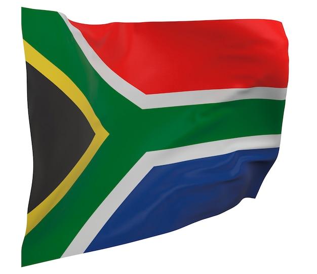 Flaga republiki południowej afryki na białym tle. macha sztandarem. flaga narodowa republiki południowej afryki