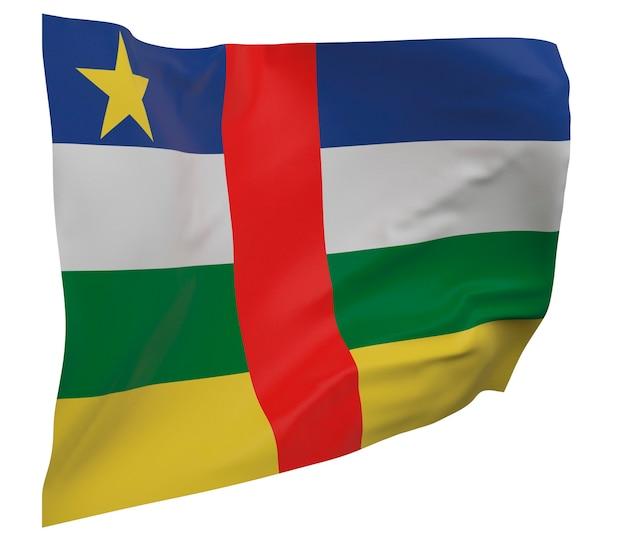 Flaga republiki środkowoafrykańskiej na białym tle. macha sztandarem. flaga narodowa republiki środkowoafrykańskiej
