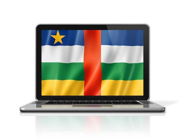 Flaga republiki środkowoafrykańskiej na ekranie laptopa na białym tle. ilustracja 3d