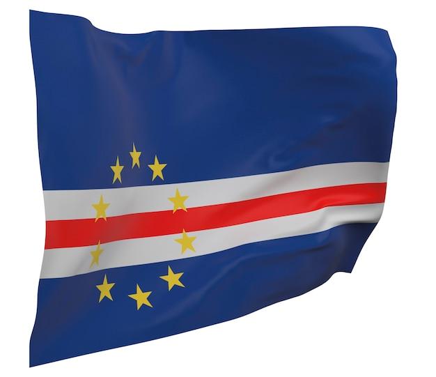 Flaga republiki zielonego przylądka na białym tle. macha sztandarem. flaga narodowa republiki zielonego przylądka