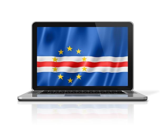 Flaga republiki zielonego przylądka na ekranie laptopa na białym tle. renderowanie 3d ilustracji.