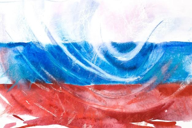 Flaga rosji. federacja rosyjska. akwarela ilustracja.