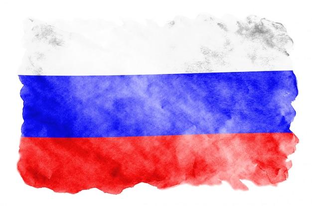 Flaga rosji jest przedstawiona w płynnym stylu akwareli na białym tle