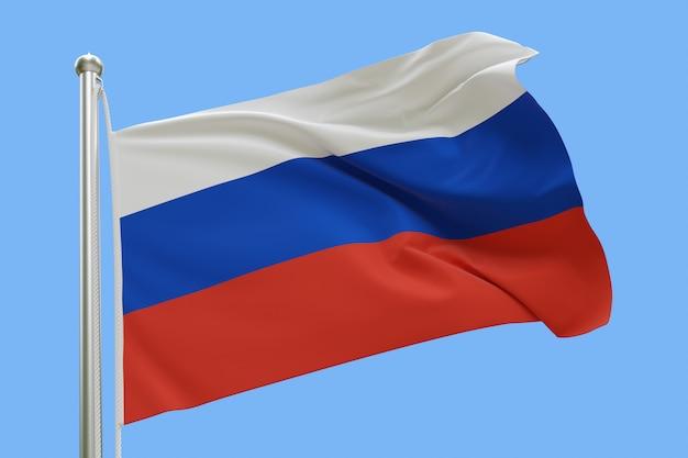 Flaga rosji na masztem macha na wietrze. pojedynczo na niebieskim niebie