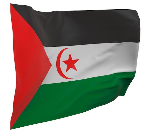Flaga sahrawi arabskiej republiki demokratycznej na białym tle. macha sztandarem. flaga narodowa sahrawi arabskiej republiki demokratycznej