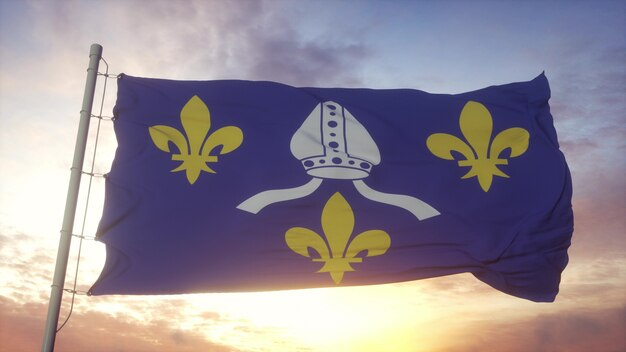 Flaga saintonge, francja, macha na tle wiatru, nieba i słońca. renderowanie 3d