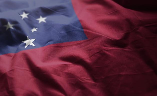 Flaga samoa popsutymi bliska