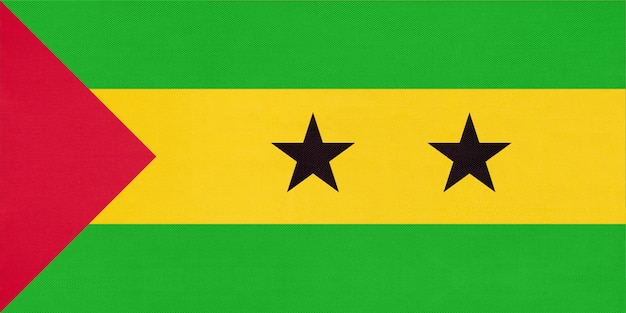 Flaga san tome and principe flagi narodowej tkaniny, tło włókienniczych.