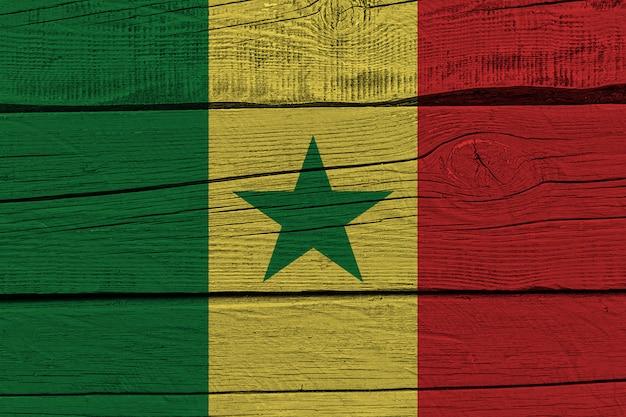 Flaga senegalu malowane na starej desce
