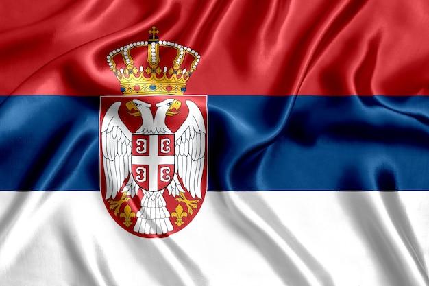 Flaga serbii jedwabiu z bliska