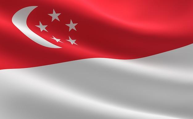 Flaga singapuru. ilustracja flaga singapur macha.