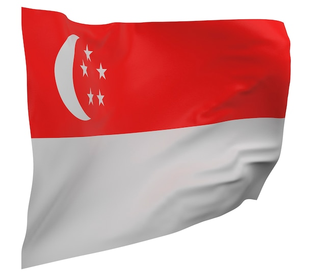Flaga singapuru na białym tle. macha sztandarem. flaga narodowa singapuru
