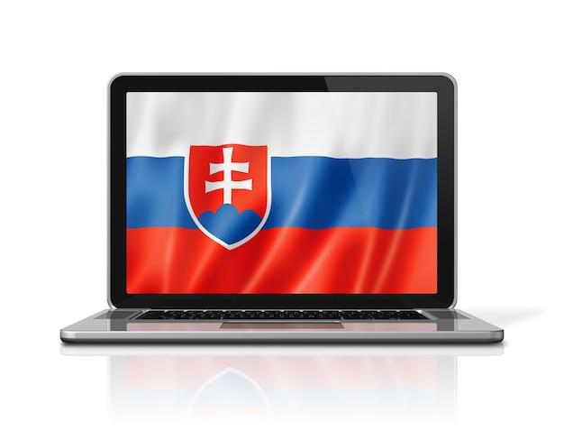 Flaga słowacji na ekranie laptopa na białym tle. renderowanie 3d ilustracji.