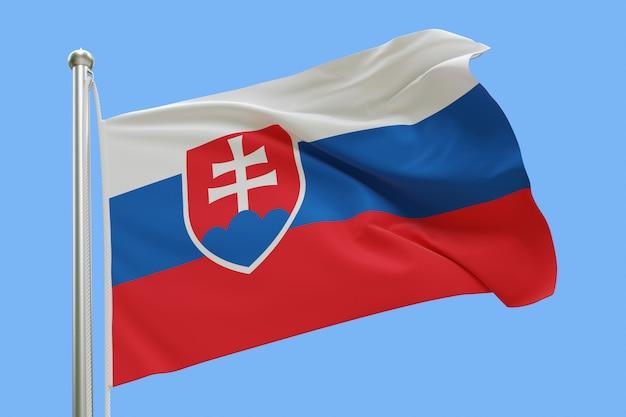 Flaga słowacji na masztem macha na wietrze na białym tle na niebieskim tle