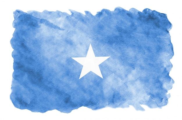 Flaga somalii jest przedstawiona w płynnym stylu akwareli na białym tle