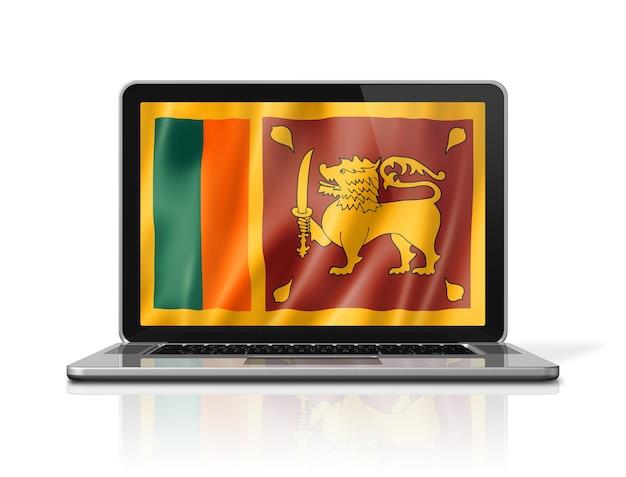 Flaga sri lanki na ekranie laptopa na białym tle. renderowanie 3d ilustracji.