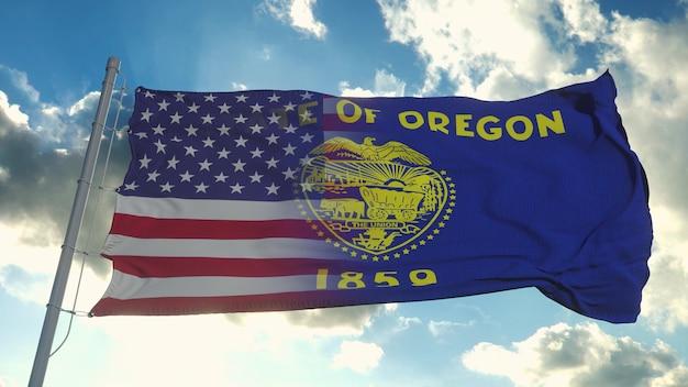 Flaga Stanów Usa I Oregon Premium Zdjęcia