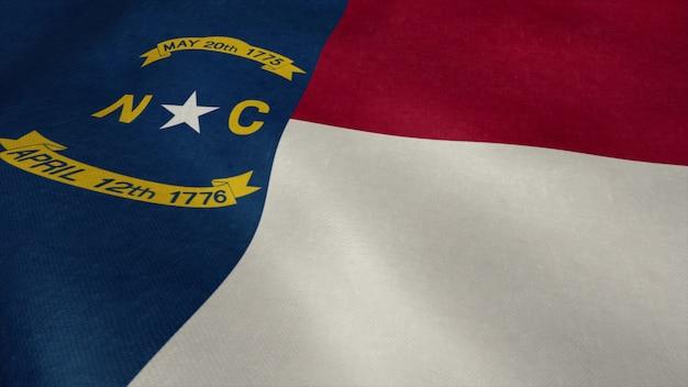 Flaga stanowa karoliny północnej wideo na wietrze.