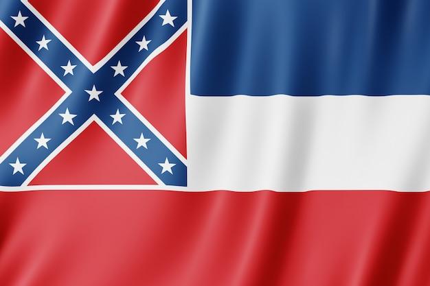 Flaga stanowa mississippi, stan usa. 3d ilustracja flagi missisipi macha.