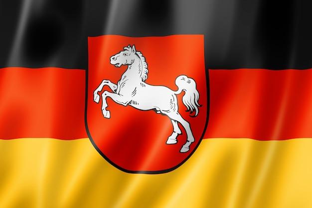 Flaga stanu dolna saksonia, niemcy macha kolekcja transparentu. ilustracja 3d