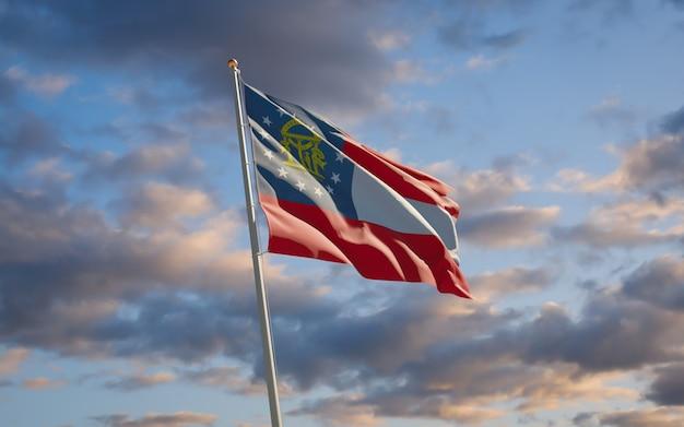 Flaga stanu georgia w tle nieba. grafika 3d