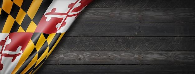 Flaga stanu maryland na czarnym banerze ściennym z drewna, usa. ilustracja 3d