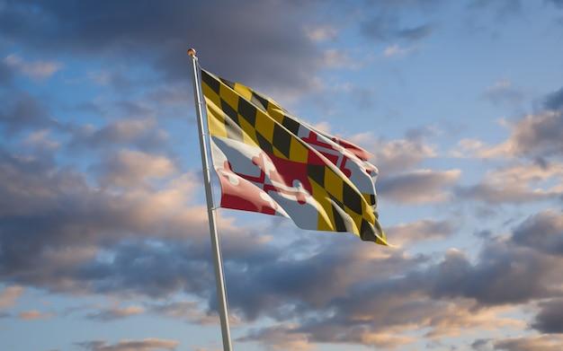 Flaga stanu maryland w usa na tle nieba. grafika 3d