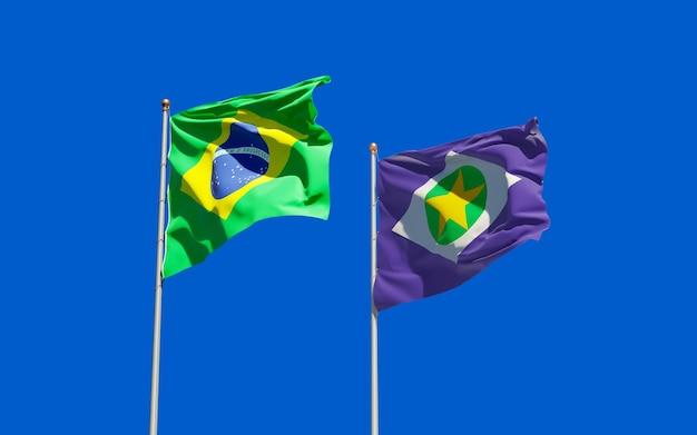 Flaga stanu mato grosso w brazylii. grafika 3d