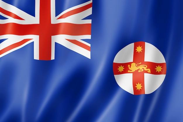 Flaga stanu nowa południowa walia, australia macha kolekcja transparentu. ilustracja 3d