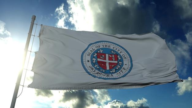 Flaga stanu oklahoma, miasta stanów zjednoczonych, macha na wietrze w błękitne niebo. renderowanie 3d