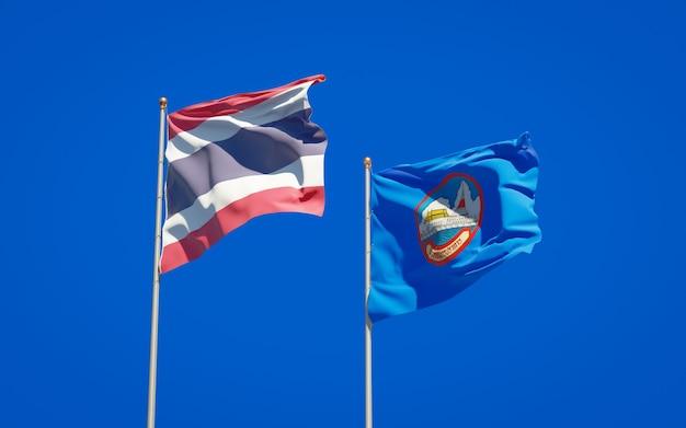 Flaga stanu prowincji samut prakan w tajlandii. grafika 3d