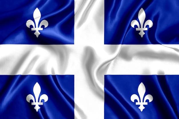 Flaga stanu quebec jedwabiu z bliska