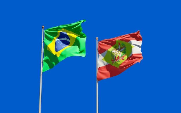 Flaga stanu santa catarina w brazylii. grafika 3d