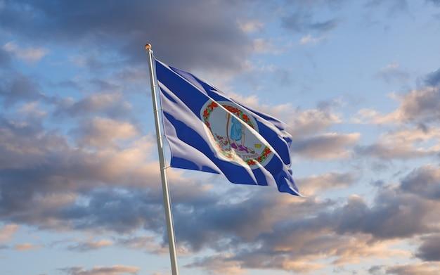 Flaga stanu wirginia w niebo