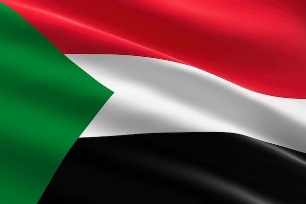 Flaga sudanu. 3d ilustracja macha flagą sudanu