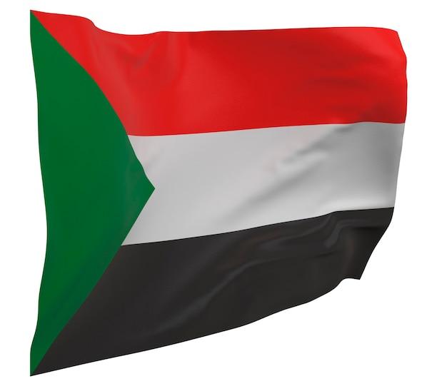 Flaga sudanu na białym tle. macha sztandarem. flaga narodowa sudanu