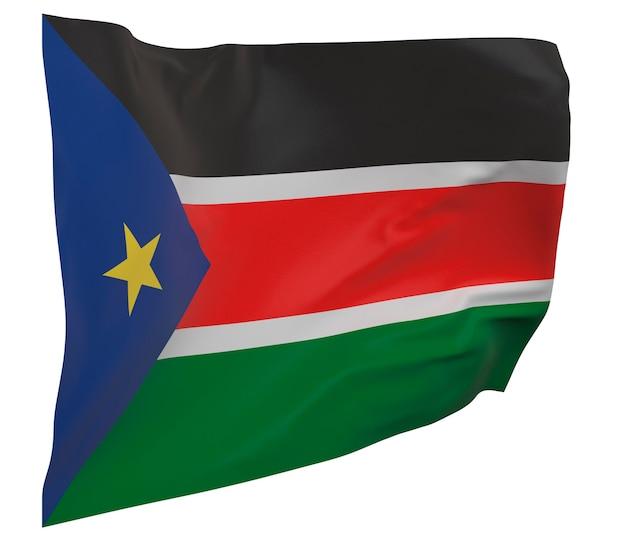 Flaga sudanu południowego na białym tle. macha sztandarem. flaga narodowa sudanu południowego