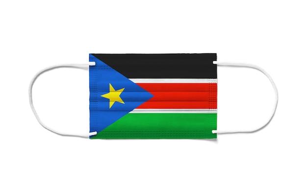 Flaga sudanu południowego na jednorazowej masce chirurgicznej