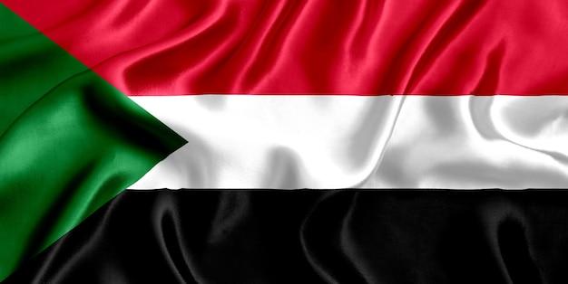 Flaga sudanu z bliska jedwabiu