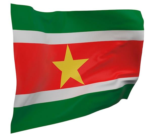 Flaga surinamu na białym tle. macha sztandarem. flaga narodowa surinamu