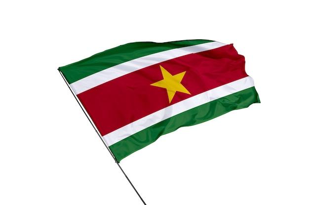 Flaga surinamu na białym tle