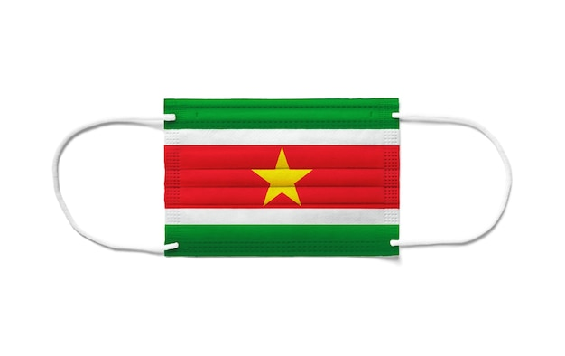 Flaga surinamu na jednorazowej masce chirurgicznej
