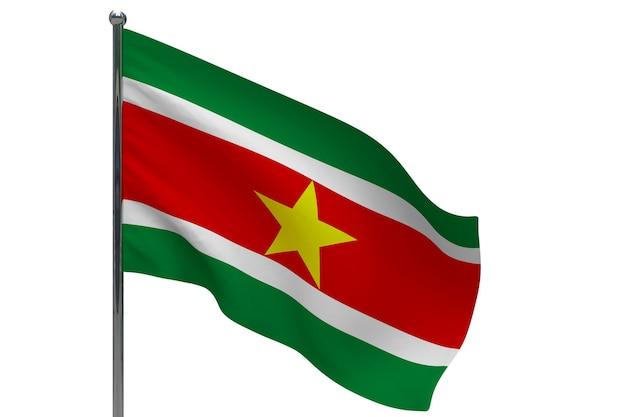 Flaga surinamu na słupie. maszt metalowy. flaga narodowa surinamu 3d ilustracja na białym tle