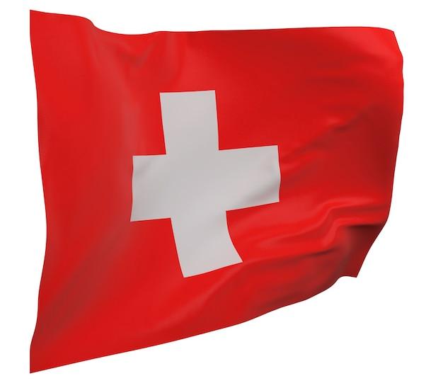 Flaga szwajcarii na białym tle. macha sztandarem. flaga narodowa szwajcarii