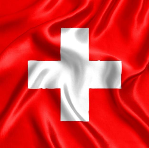 Flaga szwajcarii z bliska jedwabiu