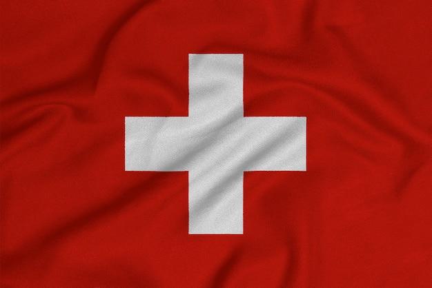Flaga szwajcarii z fabrycznej dzianiny.